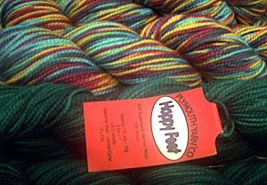 Two colors of Plymouth Happy Feet sock yarn!